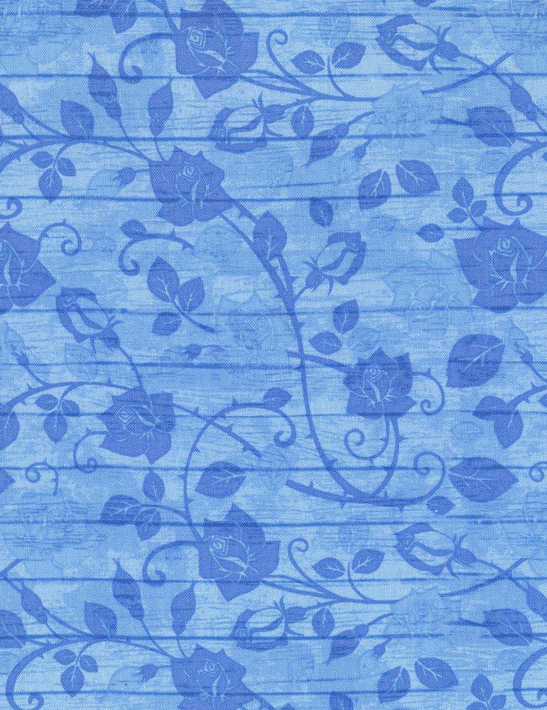 Bohemian Blues - Floral On Wood Aqua C5774