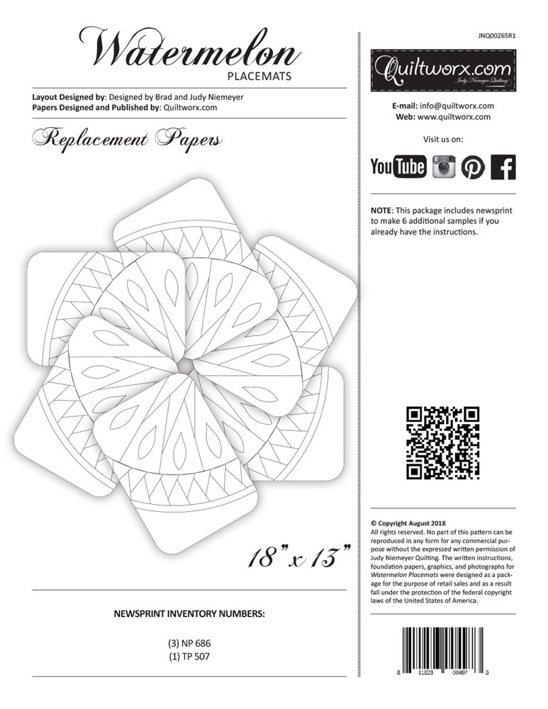 Watermelon Placemats Replacement Papers  JNQ265R1 finishes 18 x 13 *