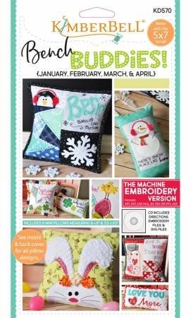 Bench Buddies Series January - April Machine Embroidery CD KD570