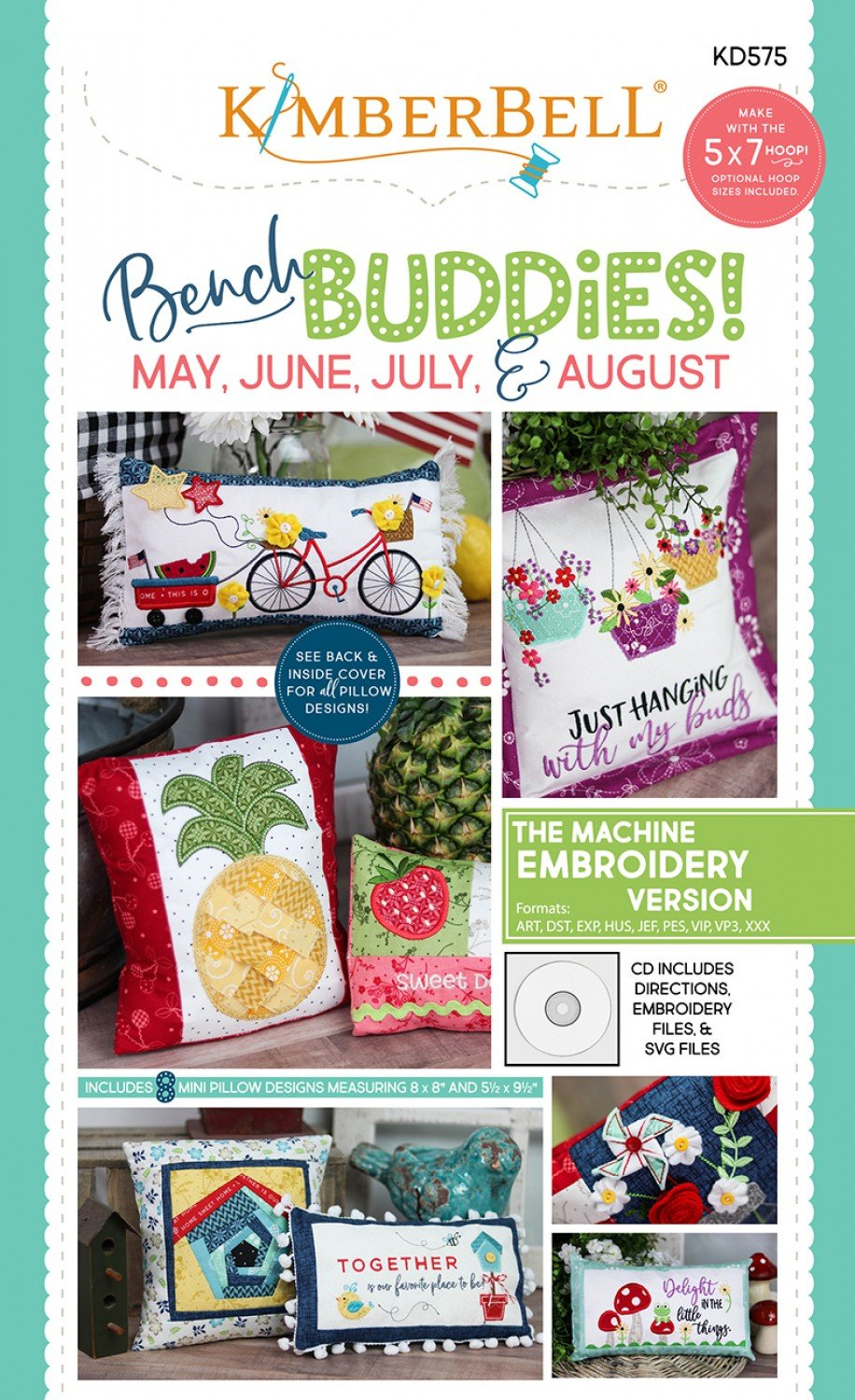 Kimberbell Bench Buddies Series May - August Machine Embroidery CD KD575