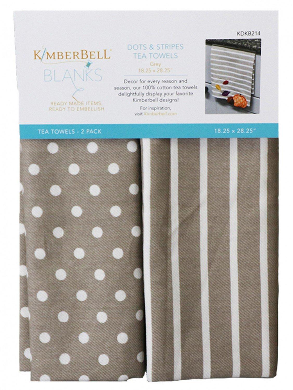 Kimberbell Dots & Stripes Tea Towels Grey Set of Two KDKB214