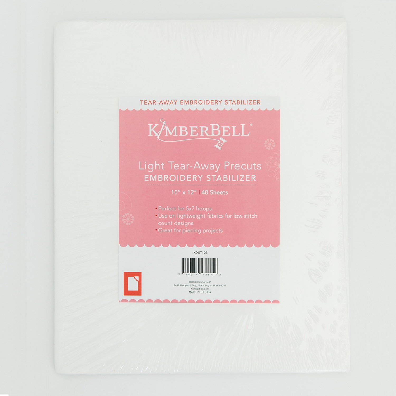 Kimberbell Light Tear-Away Precuts Embroidery Stabilizer 10 x 12  40 sheets KDST102