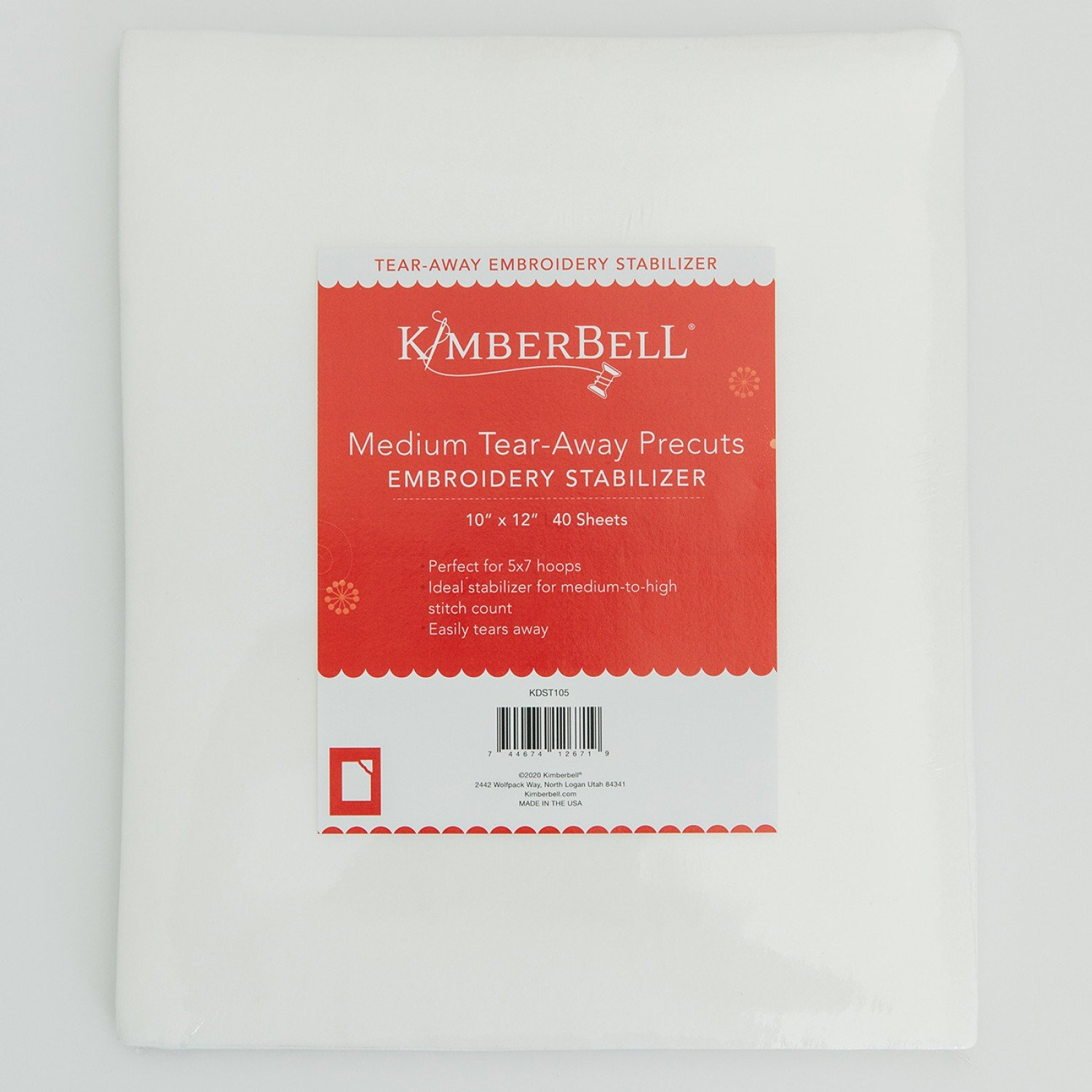 Kimberbell Medium Tear-Away Precuts Embroidery Stabilizer 10 x 12  40 sheets KDST105