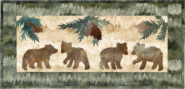 Hoffman Four Little Bears Wall Kit finishes  25.25 x 12.25 MR4LB-44