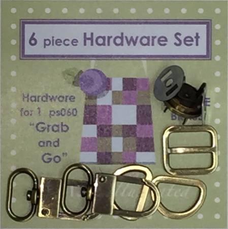 6 piece 3/4 Hardware Set - Antique Brass PSH025