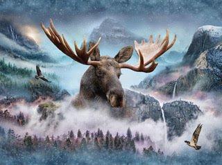 Hoffman Spectrum Digital Panel # 239 - Call of the Wild Waterfall/Moose Q4428 449