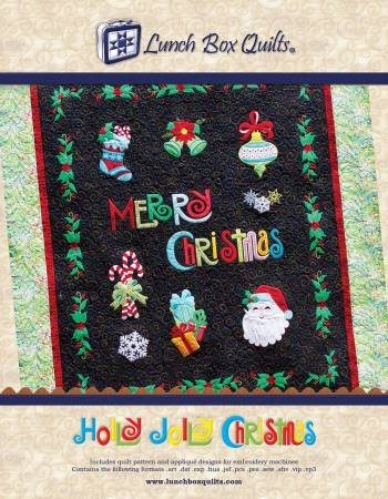 Holly Jolly Christmas Applique Machine Embroidery Pattern with Redemption Code and CD