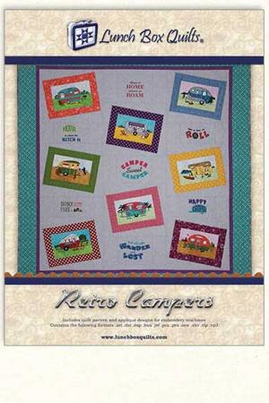 Retro Campers Applique Machine Embroidery Pattern with Redemption Code and CD