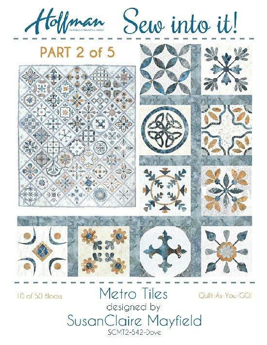 Hoffman Sew Into It Metro Tiles Kit 2 542 Dove - Blocks 11 through 20