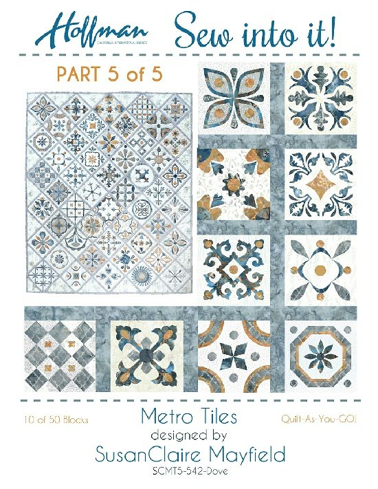 Hoffman Sew Into It Metro Tiles Kit 5 542 Dove - Blocks 41 through 50