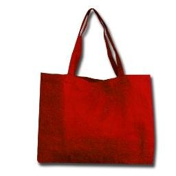 Red Canvas Tote Bag 17 x 13 x 4