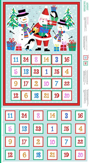 Jolly Santa Advent Calendar Panel  #191 -  Approx 24 x 44