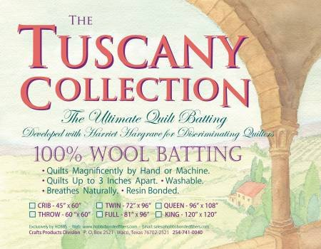 Hobbs Tuscany 100% Washable Wool Batting King 120 x 120