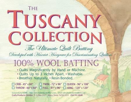 Hobbs Tuscany 100% Washable Wool Batting Throw 60 x 60