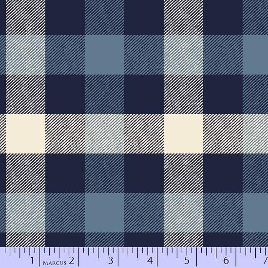 Primo Plaid Flannel - Large Check Black Blue  White U039 0121