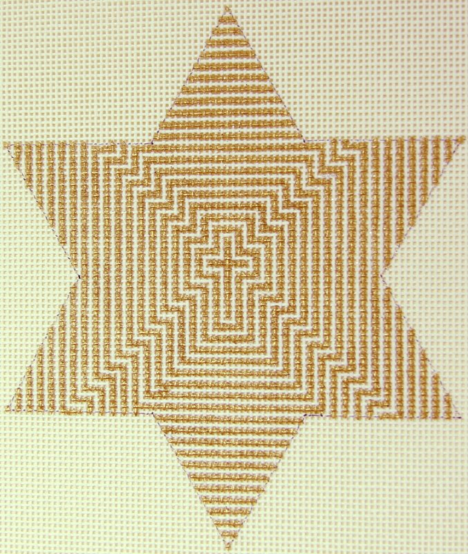 WG11426B Gold Star Geo Lines Orn