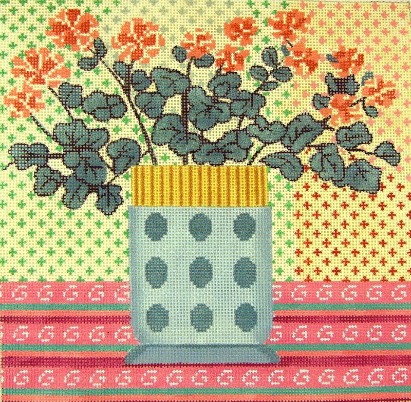 L2 Geraniums Blue Vase