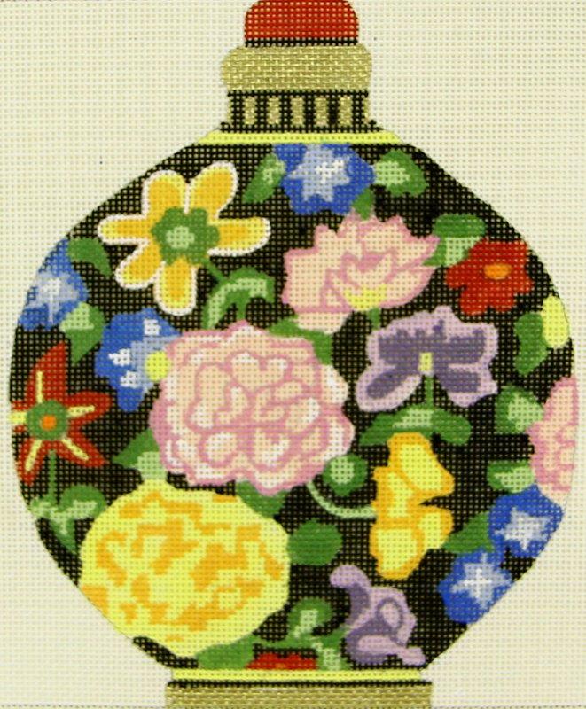 MPA125 Snuff Bottle Flowers Round