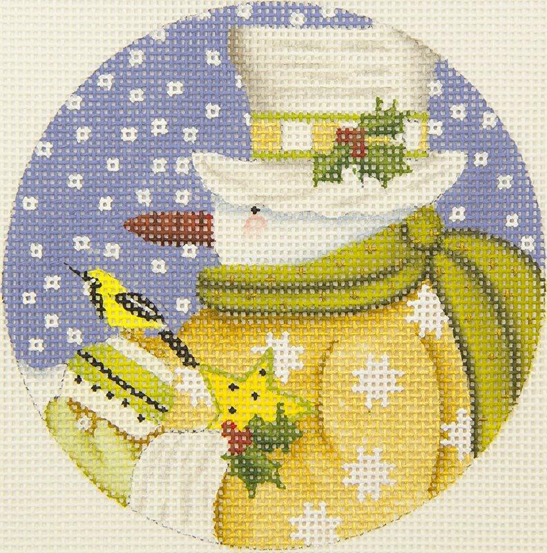 731H Round snowman/gold