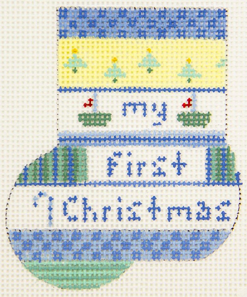 AB1676 Baby's 1st Christmas Mini Sock Blue