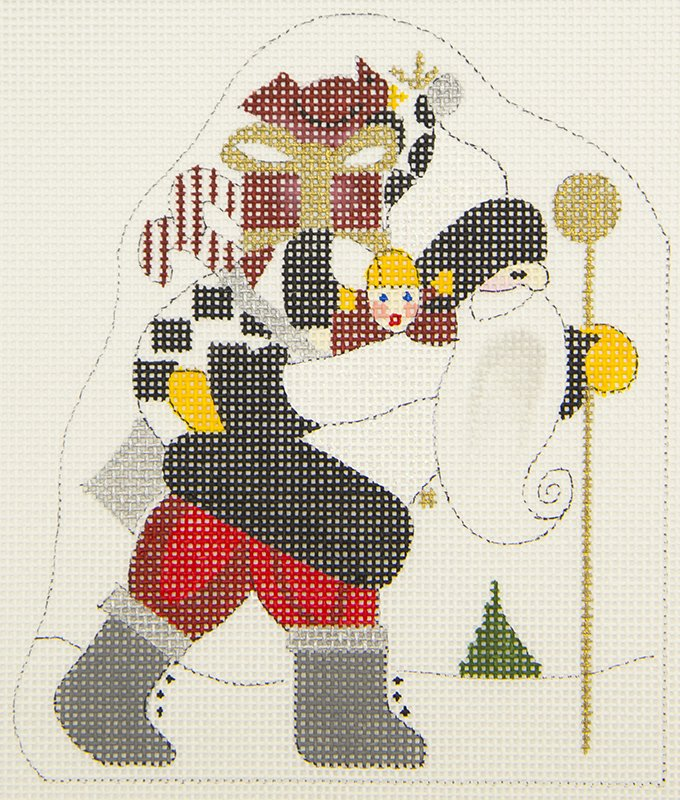 2704A Santa with Sack and Stick