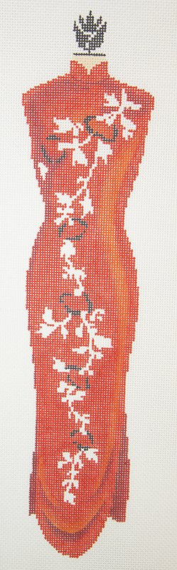C508G Red Oriental Sheath Dress