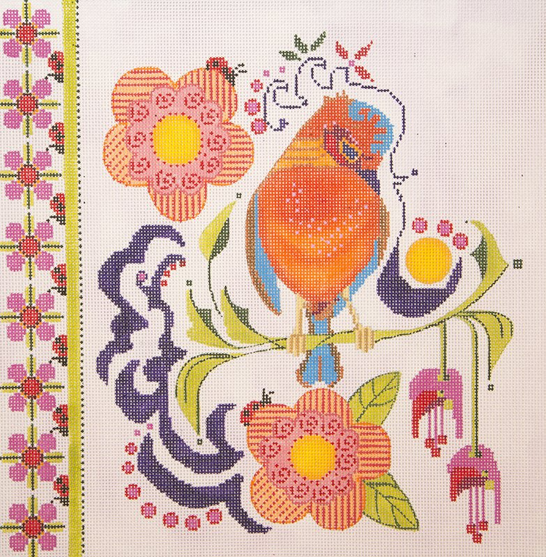 RS7130 Bird Fuchsia Lady Bug with Stitch Guide Ruth Schmuff