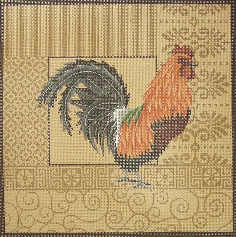 JPB027 Orange & Black Rooster with Patterns