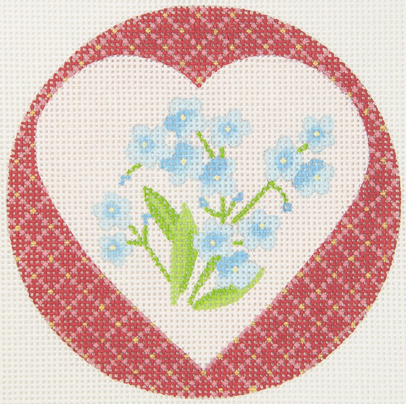 JPDN137D Heart with Blue Flowers