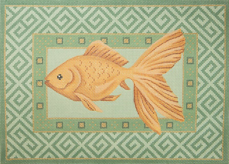 JPS226 Gold Fish Swimming on Green