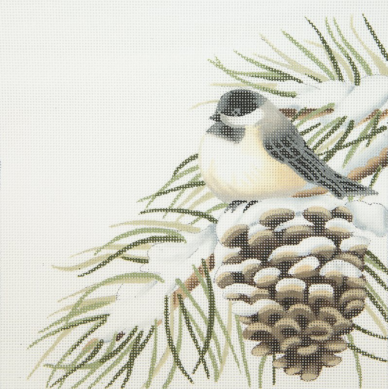 LBDSP410 Chckadee on Winter Pine Cone