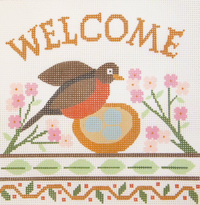 A427 Welcome Robin and Flowers