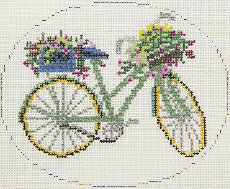 XO297 Green Bike with Spring Flowers