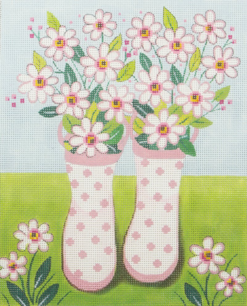 AP2970 Pink Polka Dot Rain Boots with Flowers