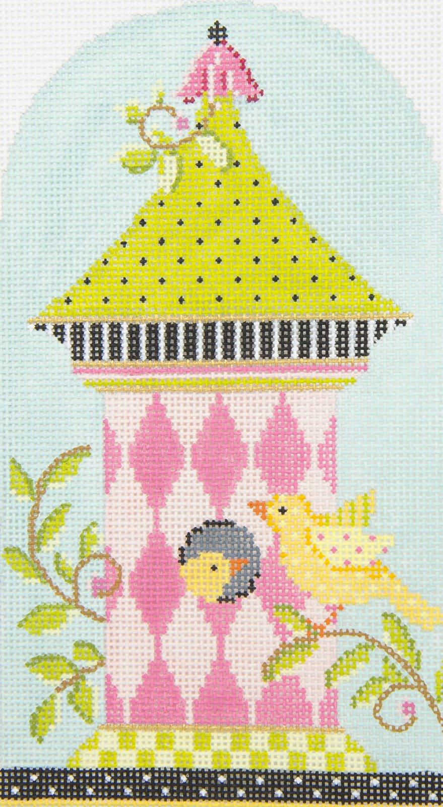 KBH03 Pink Harlequin Birdhouse Kelly Clark