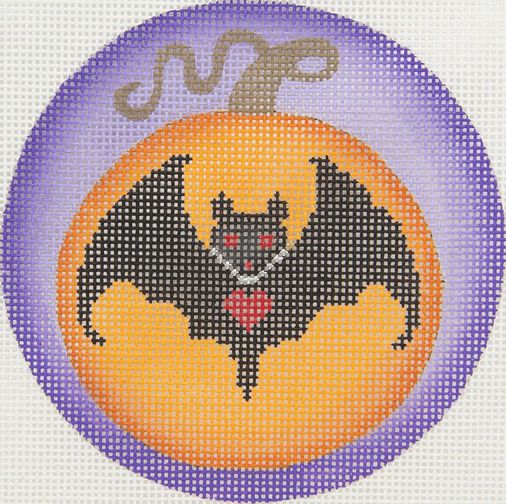 B424C Halloween Pumpkin with Bat Brenda Stofft
