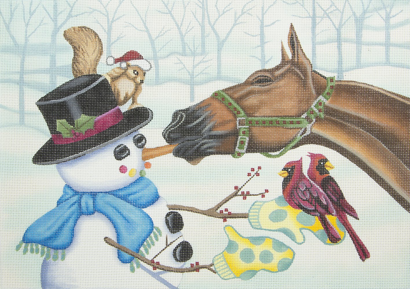 L369 Horse Eating Carrot Nose of Snowman Brenda Stofft