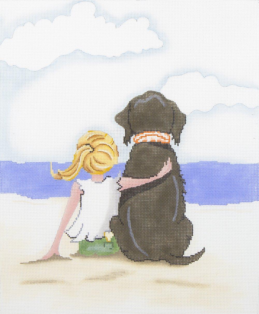 20008A Girl Hugging Dog on the Beach Patti Mann