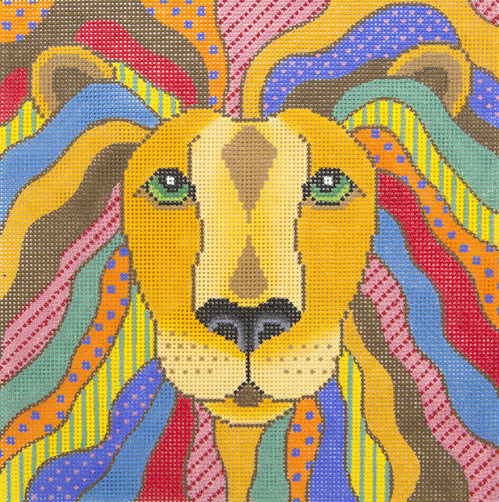 A366 Abstract Colorful Lion JP Needlepoint