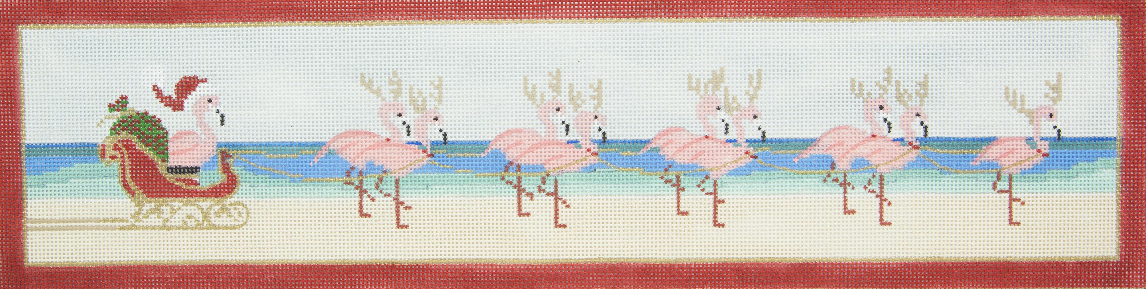 4404 Tropical Christmas Sled Flamingos Purple Palm