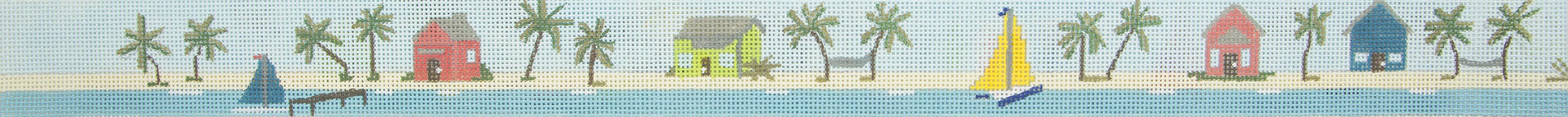 1102 Tropical Island Scene Belt Purple Palm