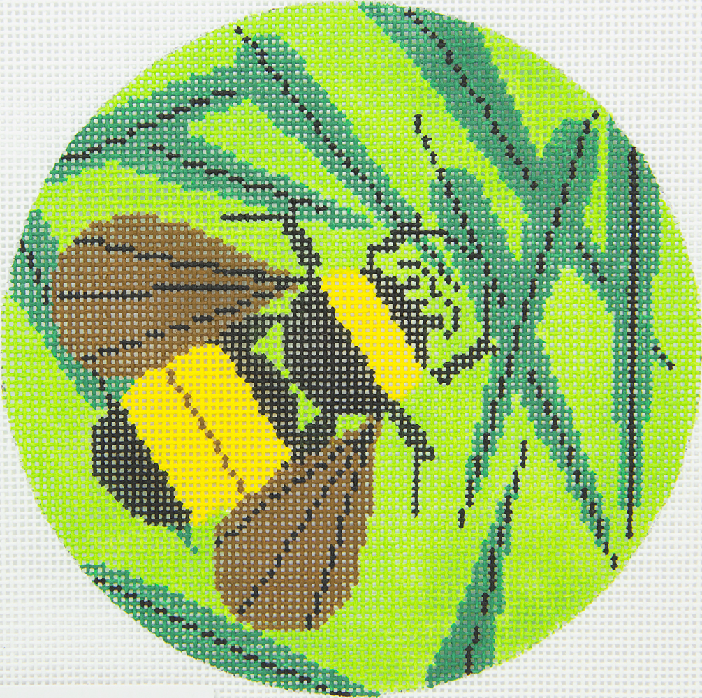 HC0385 Bee on Green Ornament Charley Harper Meredith Collection