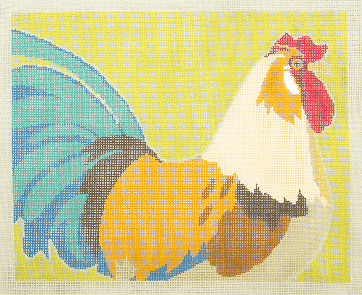 CL602 Rooster on Green 3 Kittens Needle Arts