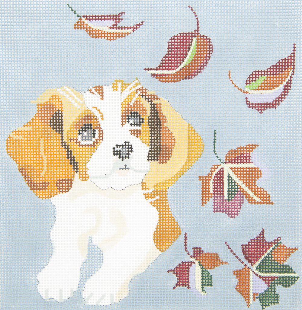 D07 Cavalier Puppy Leaf Watching Melissa Prince Designs