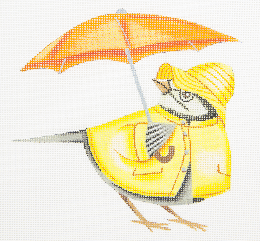 BT014 Cardinal in Rain Gear Unbrella HSN Needlepoint
