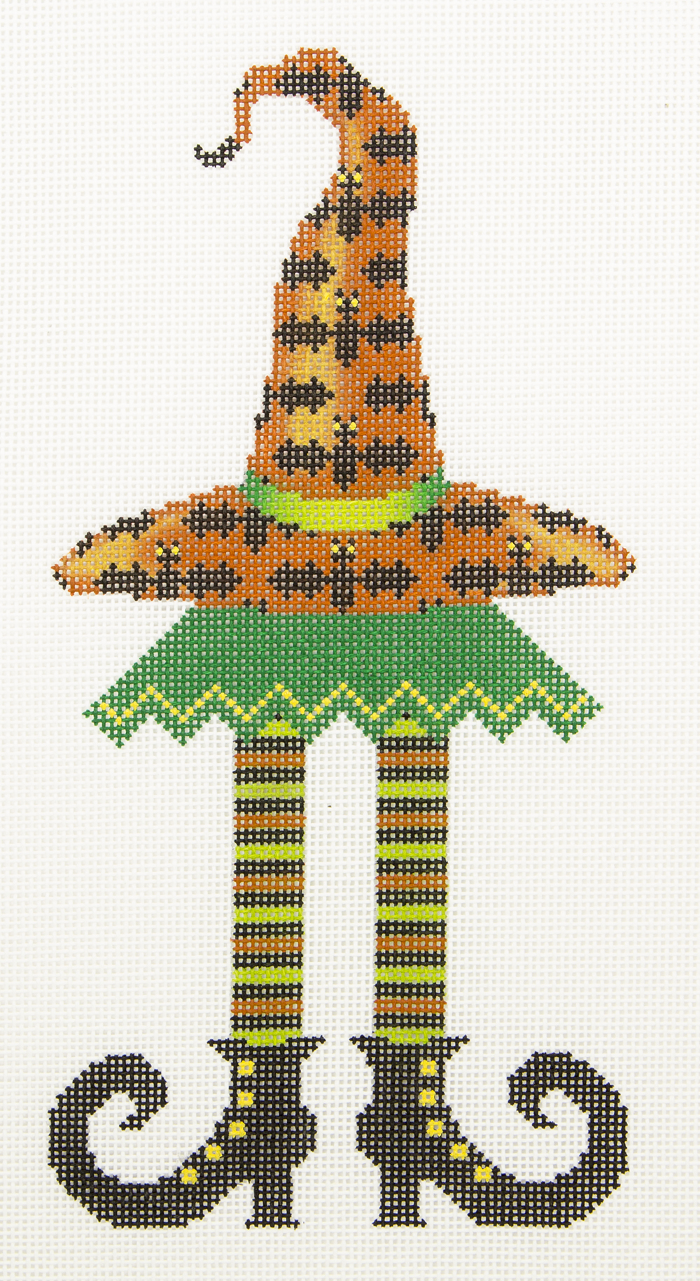 H54 Witch Hat on Legs Bat Hat JP Needlepoint
