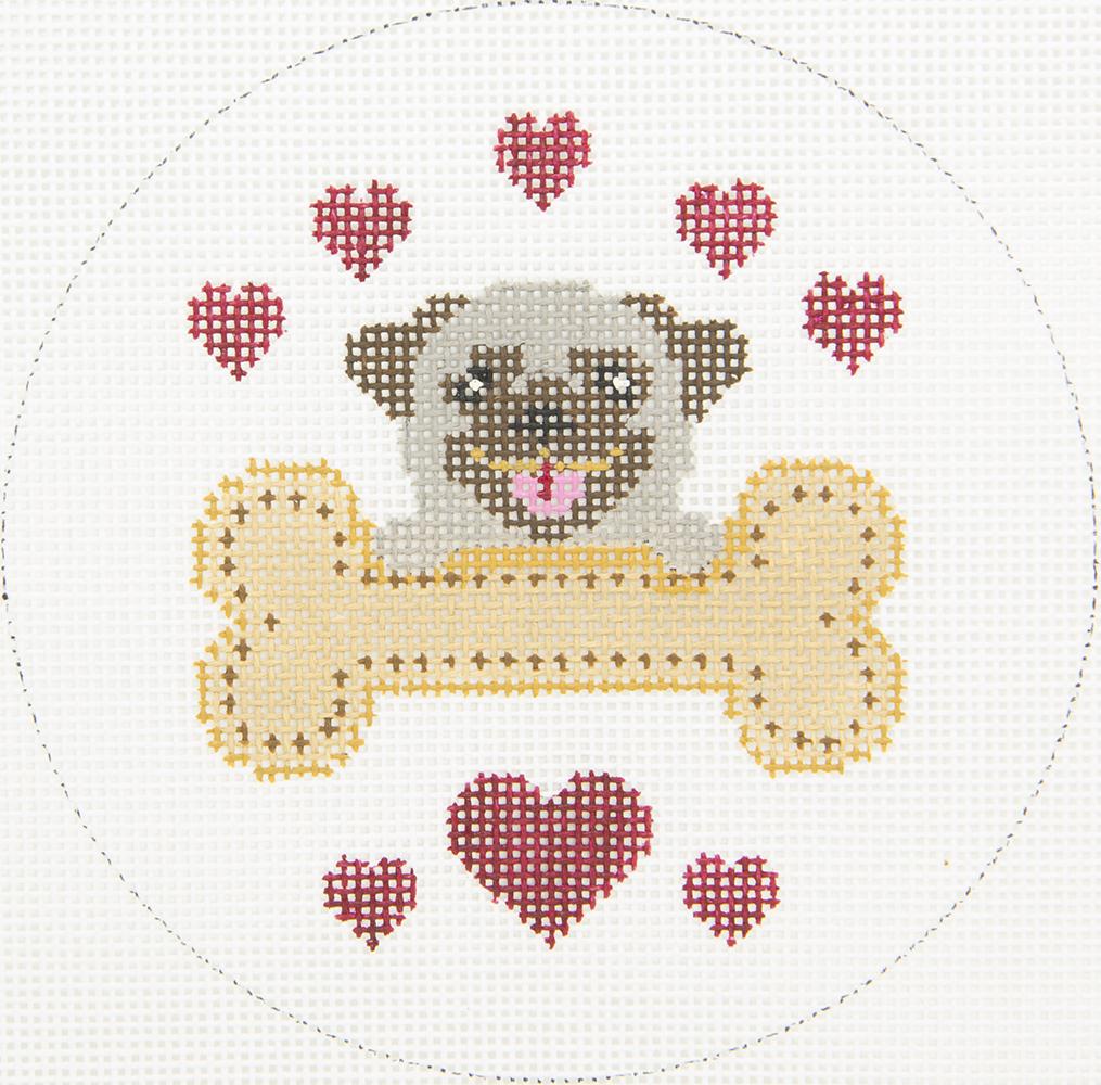 X339 Pug Rescue Dog Bone JP Needlepoint