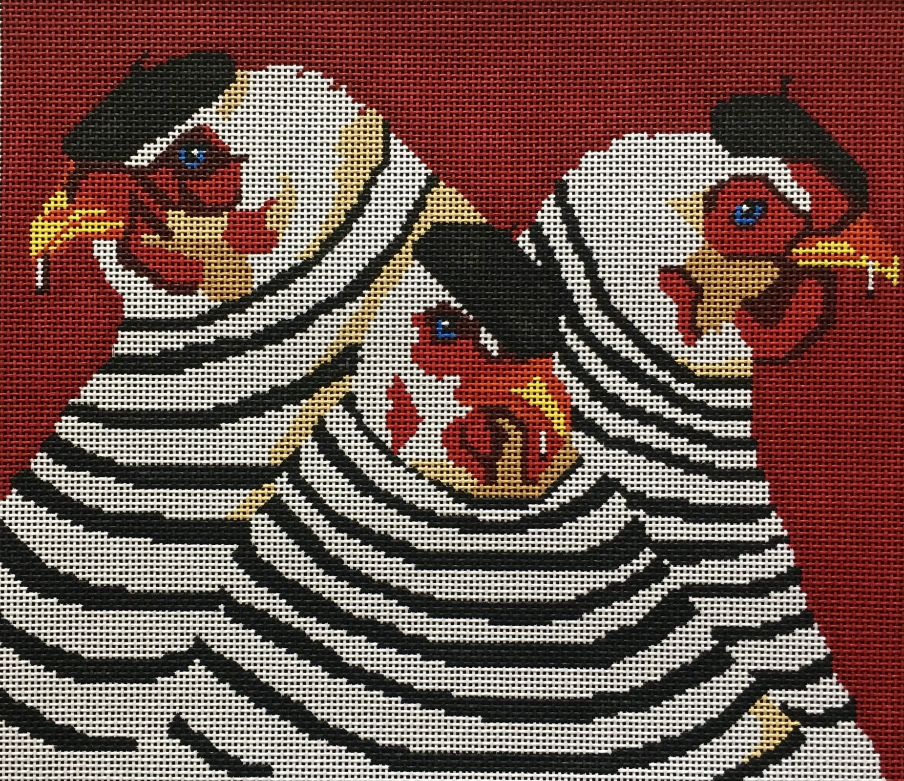 LFPL914 Three French Hens on Red
