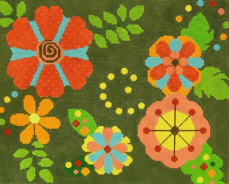 ND223 Floral Olive Background