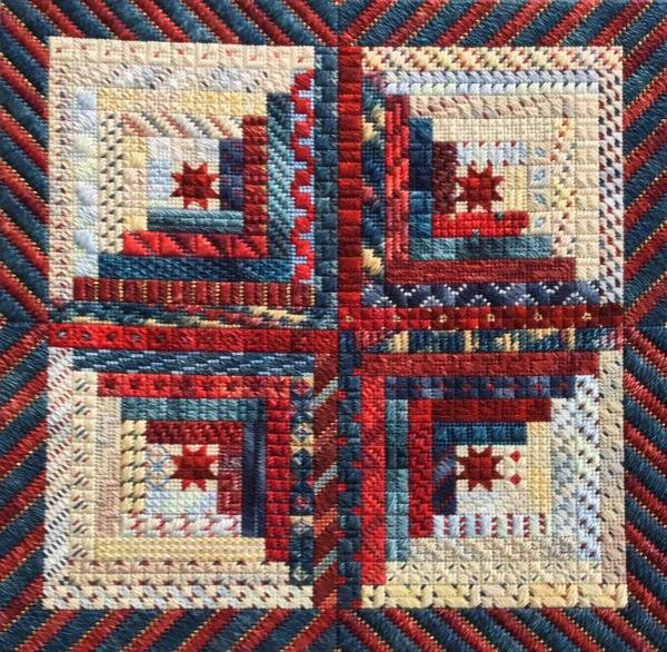 Patriotic Logs Charted Needlepoint Design